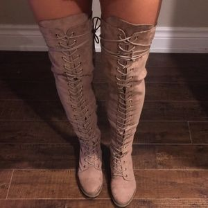 Taupe over the knee combat boots lace up